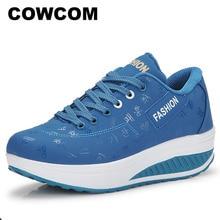 Cowcom 2009 primavera outono tipo sapatos de balancim sapatos femininos de sola grossa bolo de muffin respirável feminino único sapatos