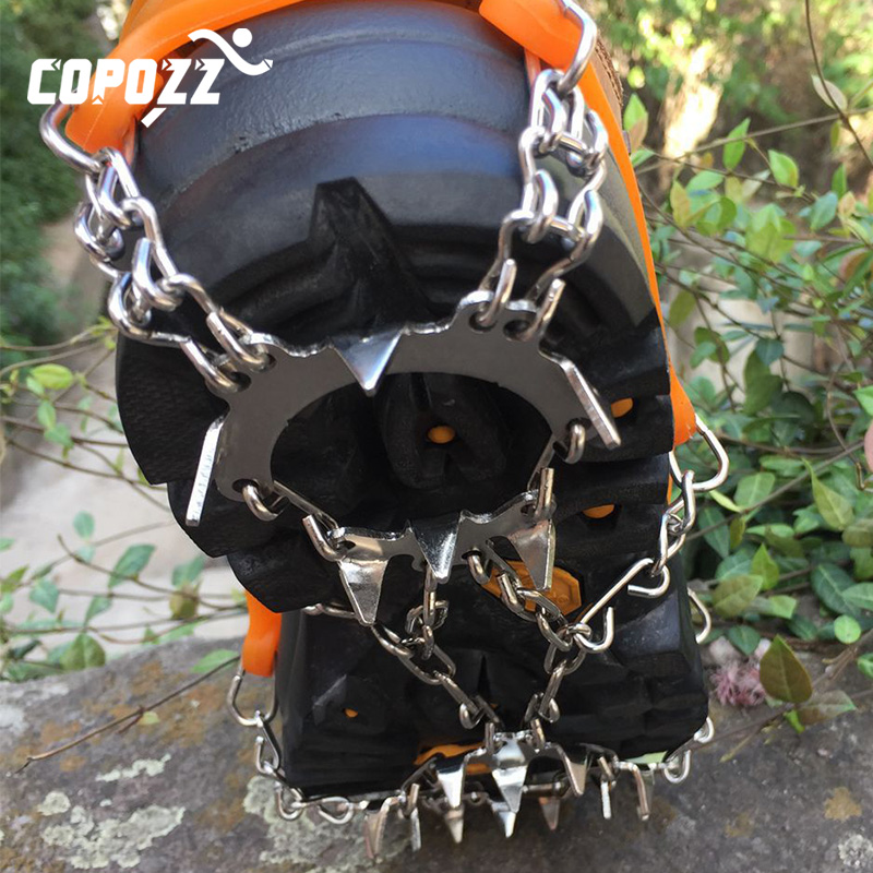 COPOZZ Outdoor Climbing Anti-slip Crampons Winter Walk 19 Teeth Ice Fishing Snowshoes Hiking Skiing Steel Slip Shoe Covers
