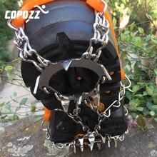COPOZZ crampones antideslizantes para escalada al aire libre, calzado antideslizante de acero para senderismo, esquí, 19 dientes