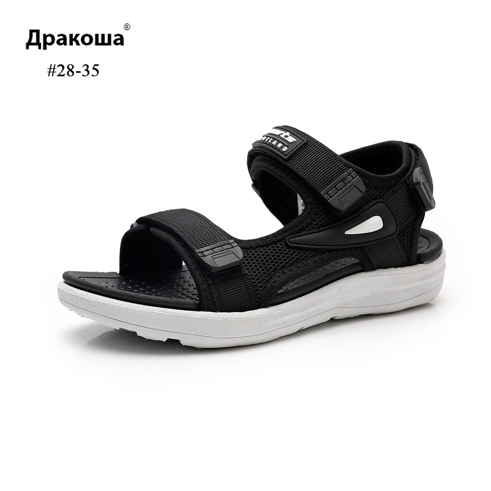 Apakowa Kids Wedge Summer Sandals Bump Non-slip Sport Style Sandals Hook&Loop Children Sandals For Little Boys Footwear