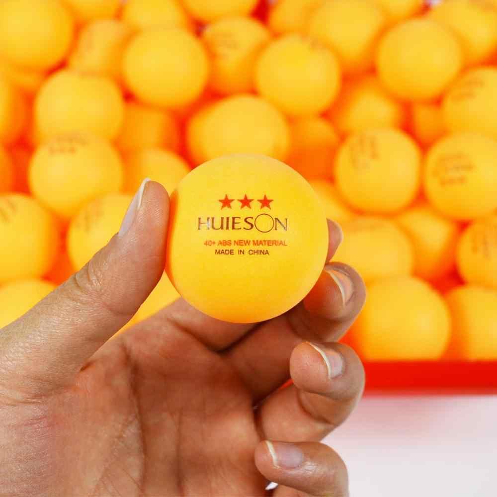 Huieson 30 50 100 nuevo Material en inglés pelotas de tenis de mesa 3 estrellas 40 + pelotas de Ping Pong de plástico ABS pelotas de entrenamiento de tenis de mesa