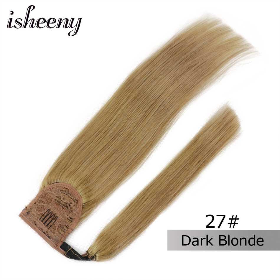 """Cabello humano Isheeny extensiones de cola de caballo Remy 14 """"18"""" 22 """"Clip en extensiones de cabello humano"""
