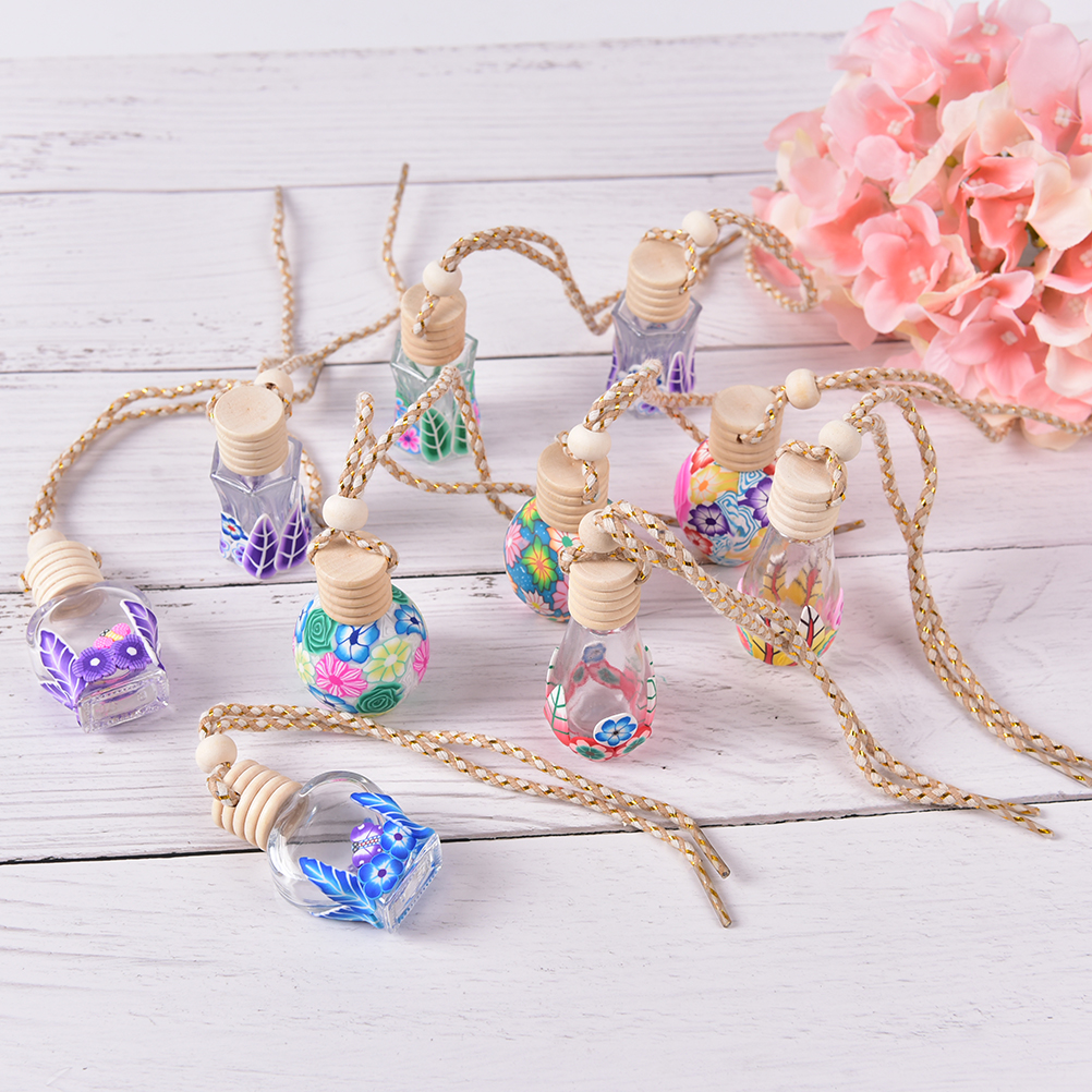 1pc 12ml Glass Perfume Bottle Polymer Clay Vials For Essential Oil Car Decoration Fragrance Bottle Charming Pendant Decoration