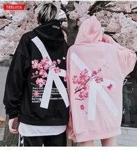 2019 zima modis Cherry Blossom bluza z kapturem z nadrukiem Streetwear Hip Hop oversize kobiety mężczyźni Unisex bawełniane bluzy Retro Hoody
