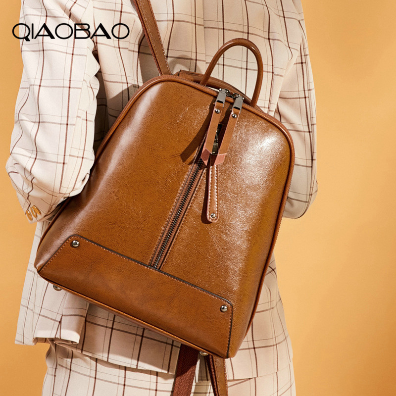 QIAOBAO New Design Genuine Leather Backpack Women's School Bag For Girls Leisure Travel Shoulder Bags Female