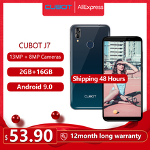 "Cubot J7 cep telefonu 5.7 ""18:9 ekran Android 9.0 pasta yüz kimlik çift arka kamera 13MP 2800mAh akıllı telefon çift SIM kart hücresel"