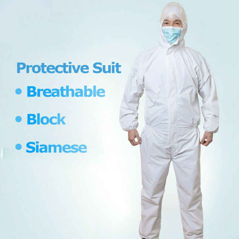 2020 Anti-Virus Protective Medical Suit Disposable Hazmat Suit Protection Clothing Breathable Block Siamese Safety Coverall