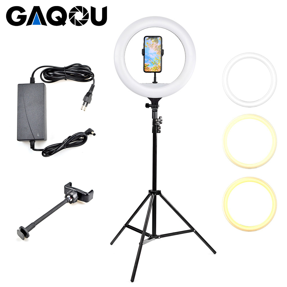 14 inch Ring Lamp LED Light Dimmable Photography Lighting with Tripod Phone Stand for Makeup Camera Studio Video YouTube VK image
