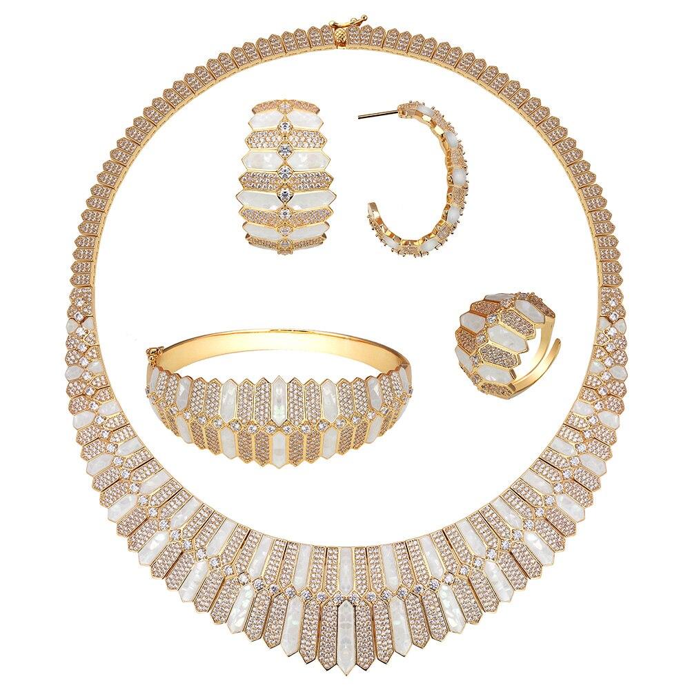 Bride Talk Luxury Unique Dubai Jewelry Copper Necklace Sets Shine Shell Design For Women Zircon Jewellery Nigerian Bridal Sets - 2