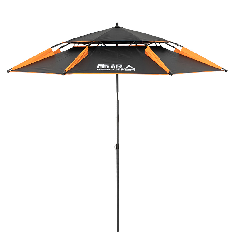 Double Layer Portable Sun Beach Umbrella Thickened Surface for Fishing Pool Adjustable Strong Aluminum Rod Super Large 2.4m