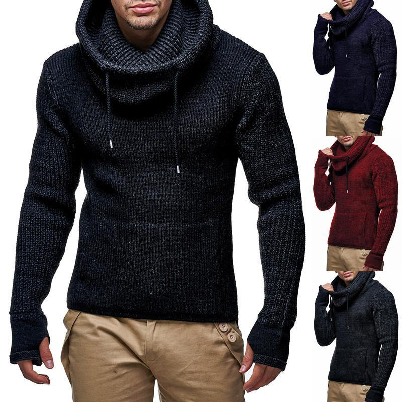 European And American Men's Head Solid Color Thick High Collar Slim Sweater Sweater