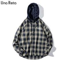 Camisa de manga longa com capuz plus size harajuku camisas para homens una reta xadrez camisas novas outono streetwear
