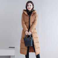 Women's Winter Hooded Long Parka Plus Size 4XL Slim Warm Coat Down Jacket Female 2019 Solid Elegant Cotton Padded Jackets Ladies