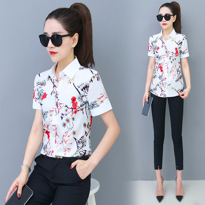 Korean Fashion Chiffon Women Blouses Office Lady Shirt and Blouse White Short Sleeve Plus Size XXXL/5XL Women Tops and Blouses