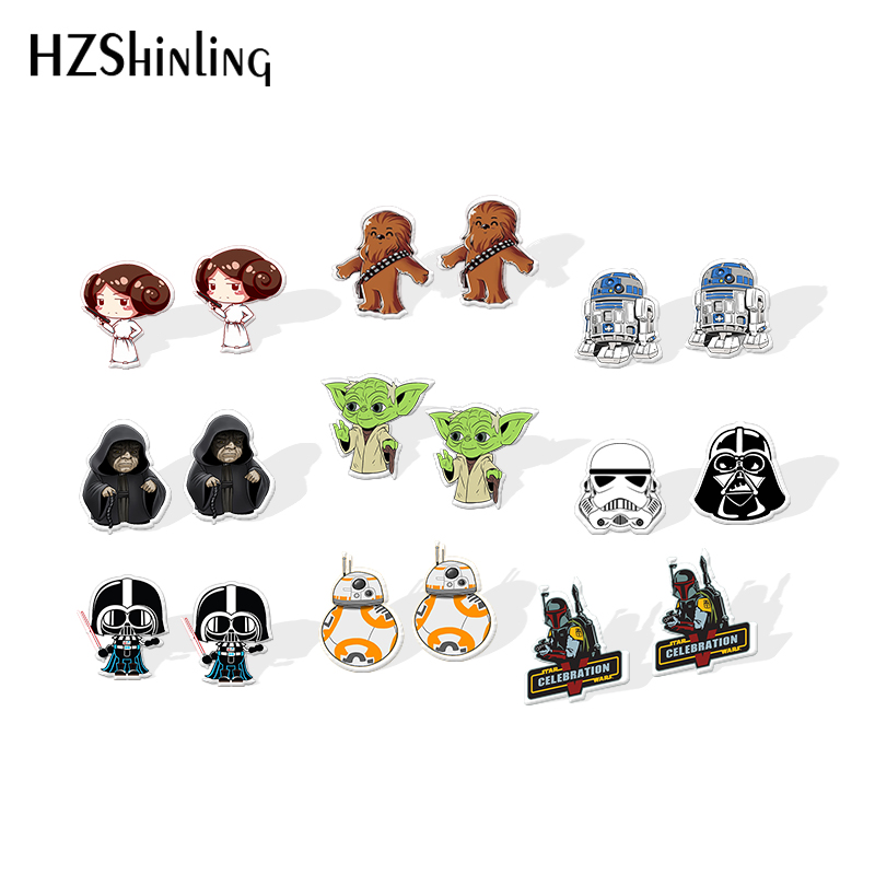 2020 New Star Wars Acrylic Earring Silver Color Resin Earrings Darth Vader Yoda Epoxy Earring Funny Stud Earring