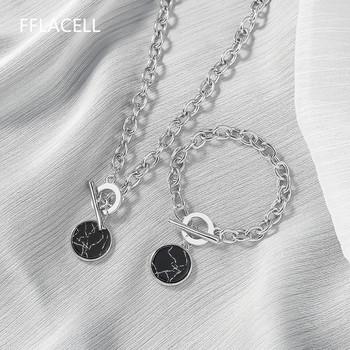 2020 Vintage Minimalist Casual Neck Chain Necklaces for Women Round Marble Pendants Hiphop Female Fashion Jewelry Necklace
