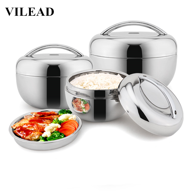 VILEAD Stainless Steel Lunch Box For Kids Food Container Handle Heat Retaining Thermal Insulation Bowl Portable Picnic Bento Box