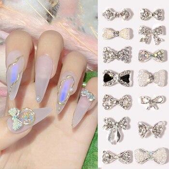10pcs 3D Bow Glitter Nail Rhinestones Crystal Glass Stone Charm Pearl Bowknots Jewelry DIY UV Gel Manicure Nail Art Decorations 10pcs 3d nail jewelry charm red diamond rhinestone charms rhinestones for nail glitter diy nail art decorations 2019