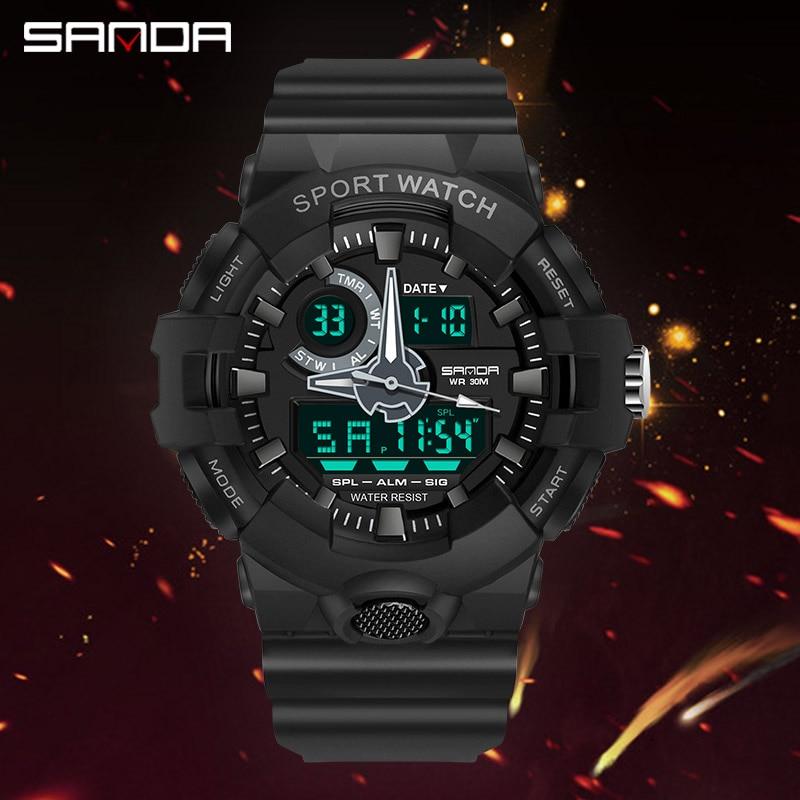 Top marque montre numérique hommes de luxe antichoc chronomètre montres SANDA marque électronique montre-bracelet hommes horloge alarme rappelant 4