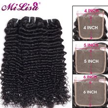 10- 30 inch Brazilian Deep Wave Bundles With Closure 3 Bundles Remy Human Hair Weave With 4x4 5x5 6x6 Lace Closure Mi Lisa Hair(China)
