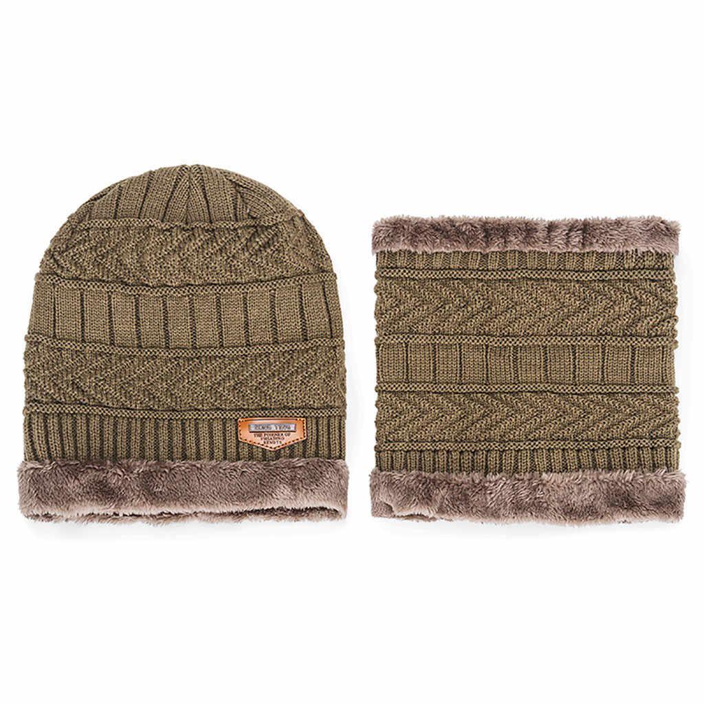 Men WARM Skullies หมวก + ผ้าพันคอสองชิ้นชุดฤดูหนาว Thicken หมวก Windproof หมวกถักคออุ่น # T5P