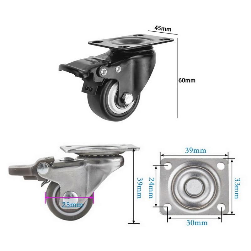 4 pçs/set rodízios móveis roda rodízios rodízios de borracha macia roda de rolo prata para plataforma cadeira do trole do agregado familiar aaccessories-5