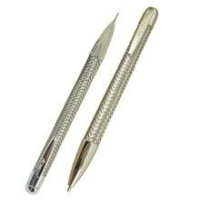 ACMECN 2 adet/grup marka Metal örgü kalem ve 0.7mm kalem seti krom randevu kalem mekanik kurşun kalem ofis kırtasiye