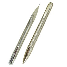 ACMECN 2pcs / lot Brand Metal Braid Pen and 0.7mm Pencil Set With Chrome Appointment Pen Mechanical Pencil Office Stationery