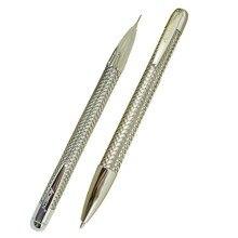 ACMECN Juego de 2 unidades/lote de bolígrafos trenzados de Metal y lápiz de 0,7mm con bolígrafo cromado para citas, lápiz mecánico, papelería de oficina