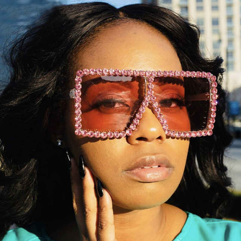 Luxury Brand Square Women Sunglasses 2021 trend Retro Sunglass Lady Oversized Rhinestone Decoration Sun Glasses Shades For Women (4)