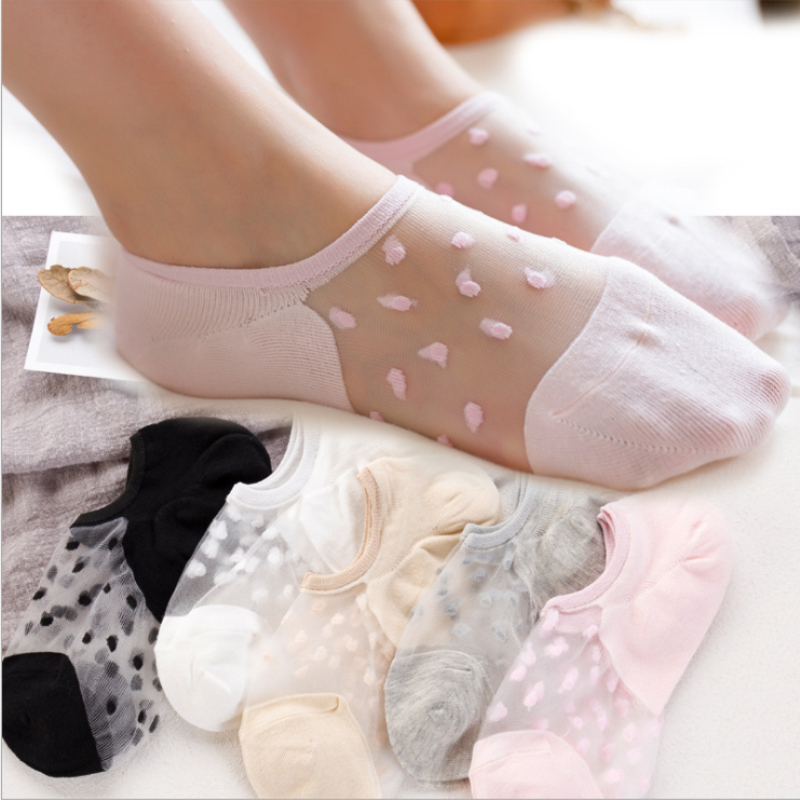Boat Socks Transparent Invisible Socks Summer Dot Shallow Mouth Socks Elastic Ankle Low Cut Non Slip Boat Liner Socks For Women