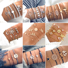30 Style Boho Bangle Elephant Heart Shell Star Moon Bow Map Crystal Bead Bracelet Women Charm Party Wedding Jewelry Accessories цены