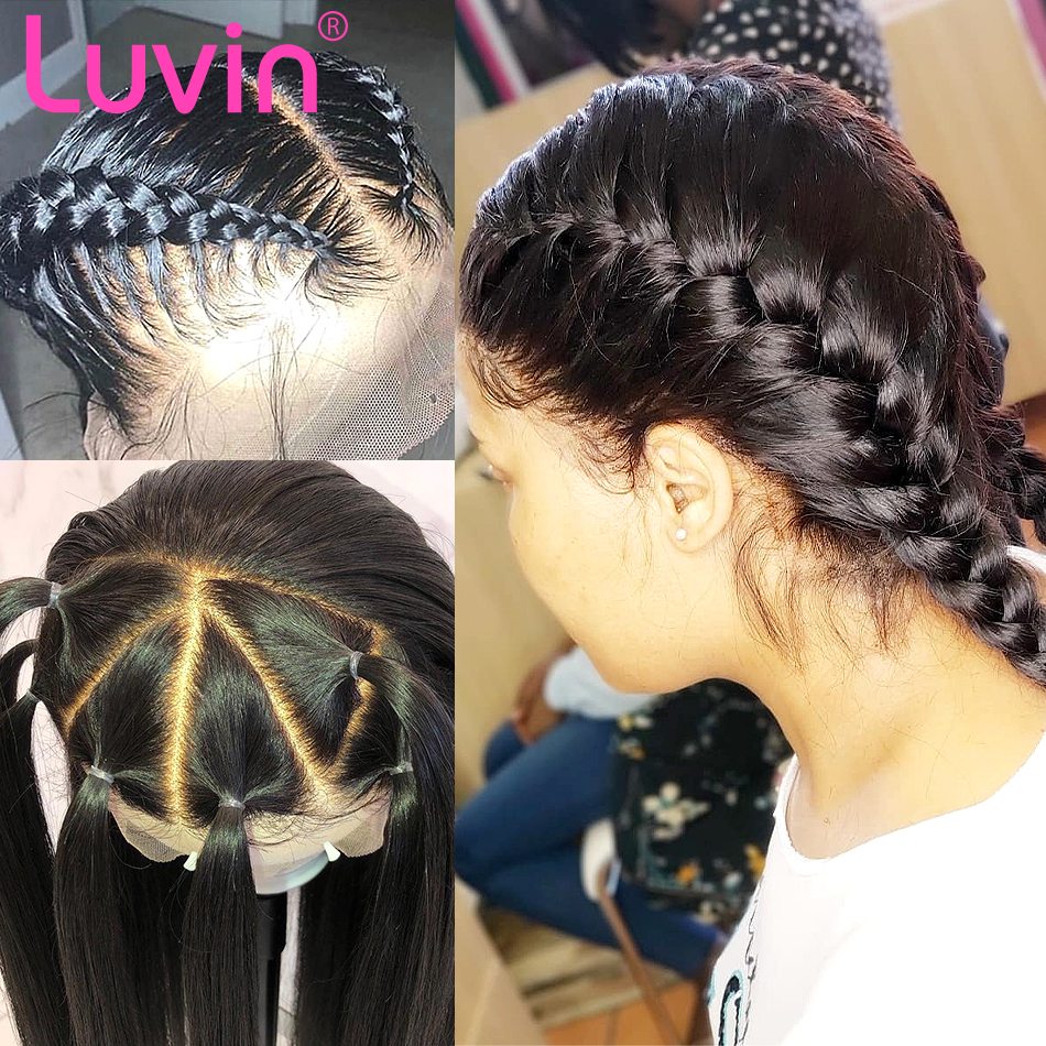 <font><b>Luvin</b></font> 30 Inch Straight Glueless Full Lace Human <font><b>Hair</b></font> Wigs 180 Density HD Transparent Brazilian Long Wig Pre Plucked Baby <font><b>Hair</b></font> image