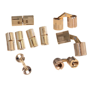 4Pcs 8mm Cylindrical Hidden Cabinet Concealed Invisible Brass Hinges Copper Barrel Hinges Mount For Furniture Hardware