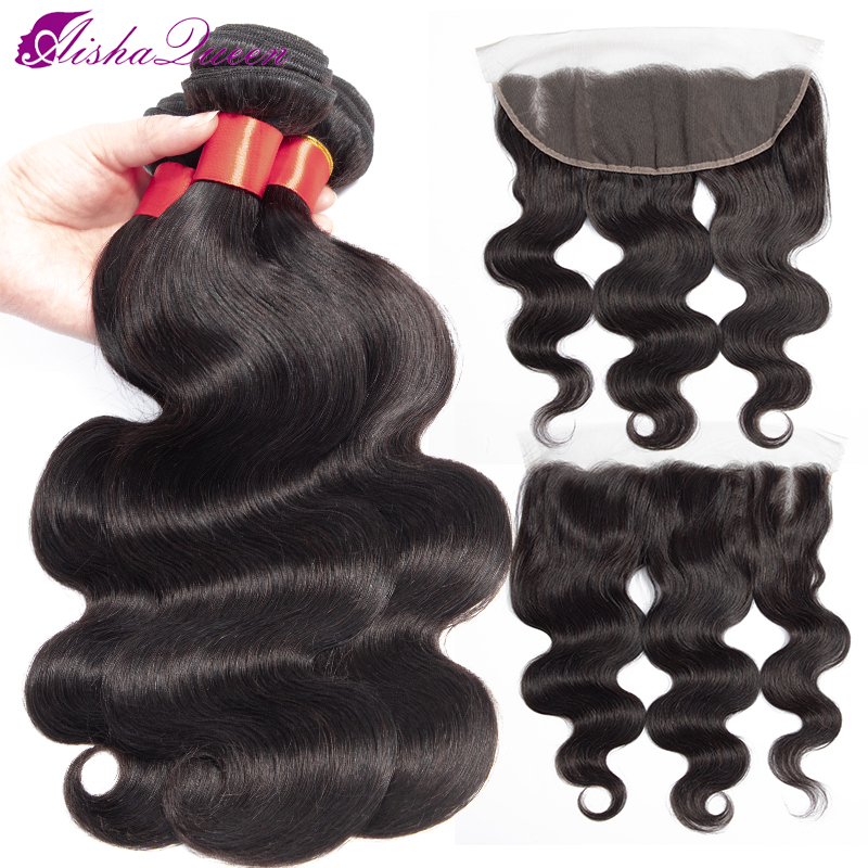 Aisha Queen Hair 13x4 Lace Frontal Closure With Bundles Non Remy Brazilian Body Wave Human Hair