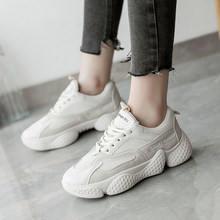 Luminous 2019 Autumn Women Casual Sport Dad Shoes Cute Sneakers Platform White Leather White Sneakers Tennis Female moda mujer(China)