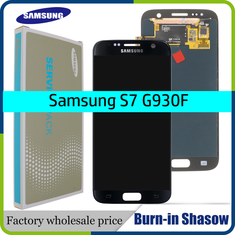 """SUPER AMOLED  5.1"""" with Burn Shadow LCD with frame for SAMSUNG Galaxy S7 G930 G930F Display Touch Screen Digitizer Assembly