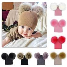 Kids Warm Winter Caps Double Fur Pom Pom Beanie Wool Knitted Hat Baby Boys Girls Two Raccoon Balls Cap #330(China)
