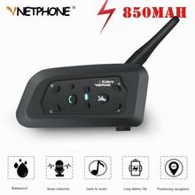Pro interkom motocyklowy 1200m bezprzewodowy zestaw słuchawkowy Bluetooth do kasku domofony dla 6 zawodników Intercomunicador BT Interphone MP3 GPS