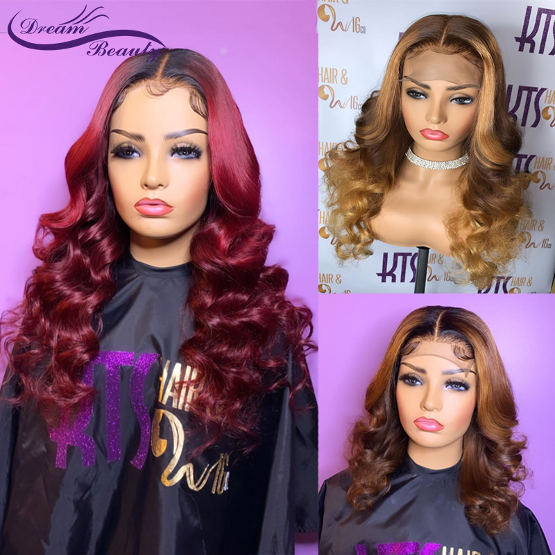 Colored Ombre Honey Blonde Human Hair Wigs 13X4 Lace Front Wig PrePlucked Brazilian Wavy Burgundy Color Remy Wigs Dream Beauty