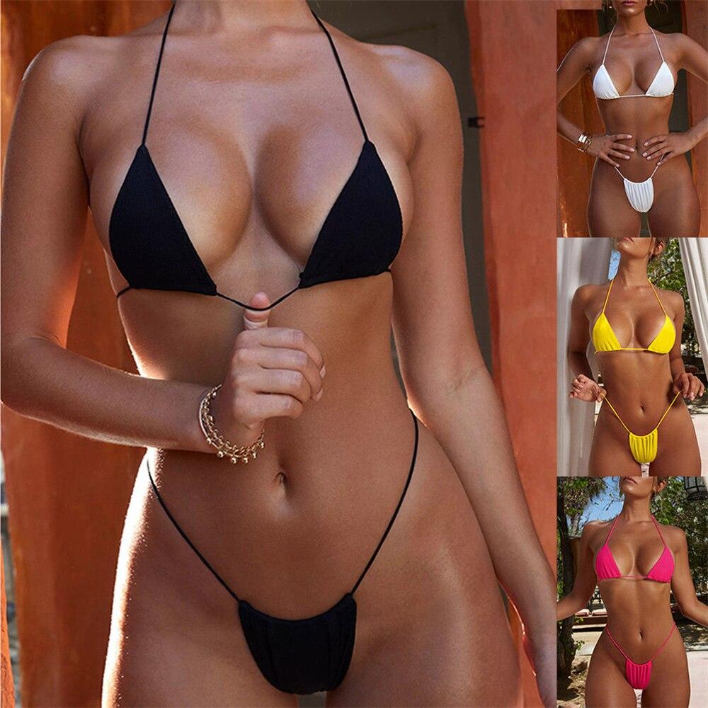 New Sexy Bikini Set Women Swimsuit High Waisted Bathing Suits Swim Halter Push Up Bikinis Set Unpadded Bra Bralette Swimwear