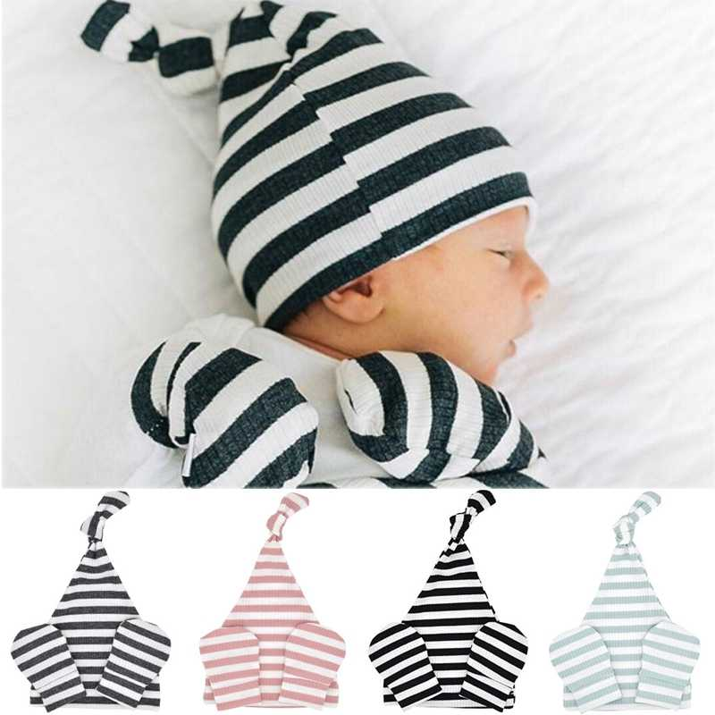 Newborn Baby Hat Cap Mitten Keeping Warm Infant Stripe Cotton Knitted Hat No Scratch Anti-hand Caught Mittens Outfits Set 0-6M