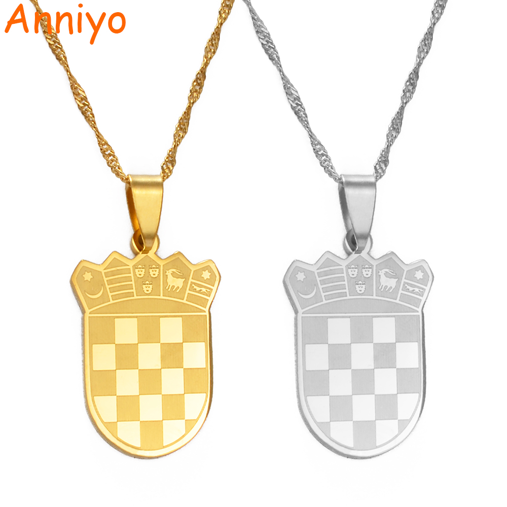 Anniyo Croatia Falg Charm Pendant Necklaces Gold Color/Silver Color for Women Girls the Croatian Jewelry Gift #180021