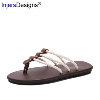 New Arrival 2020 męskie letnie klapki modne modne sandały na plażę Mans Sandalias kryty i odkryty kapcie męskie Plus rozmiar 39-46 tanie i dobre opinie INJERSDESIGNS Poza Prawdziwej skóry Skóra bydlęca Mieszkanie (≤1cm) Pasuje prawda na wymiar weź swój normalny rozmiar