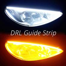 2Pcs DRL Siang Hari Berjalan Lampu 30Cm/45Cm/60Cm Flexible LED Strip Lembut Tude panduan Lampu Tahan Air Slim Turn Sinyal Kuning(China)