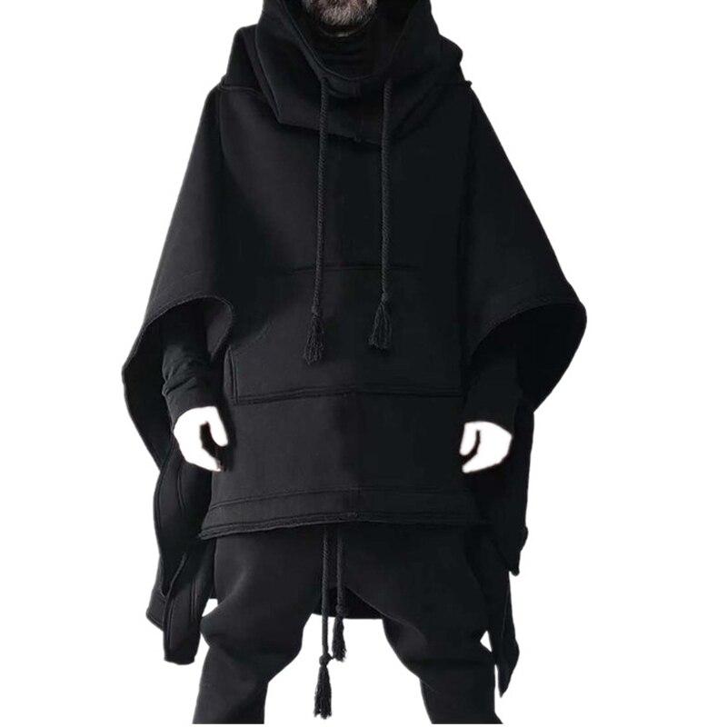Cape Cape Cape Cape Medium Long Bat hoodie autumn winter wool coat men's individuality coat son Cape Front short after long