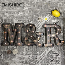 ZMISHIBO A Z & LED Letter Industrial Style Night Lights Holiday Bar Cafe Shop Decor Home Lighting 3D Alphabet Wall Night Lamp