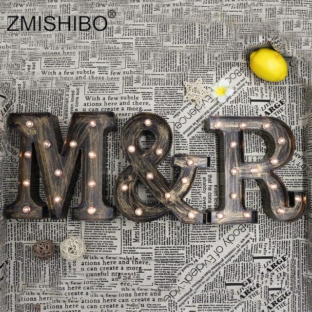 ZMISHIBO A Z و LED رسالة النمط الصناعي أضواء ليلية عطلة بار مقهى متجر ديكور المنزل الإضاءة ثلاثية الأبعاد الأبجدية الجدار ليلة مصباح