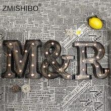 Ночник ZMISHIBO В индустриальном стиле со светодиодными буквами, украшение для праздника, бара, кафе, магазина, домашнее освещение, настенный ночник с 3D алфавитом
