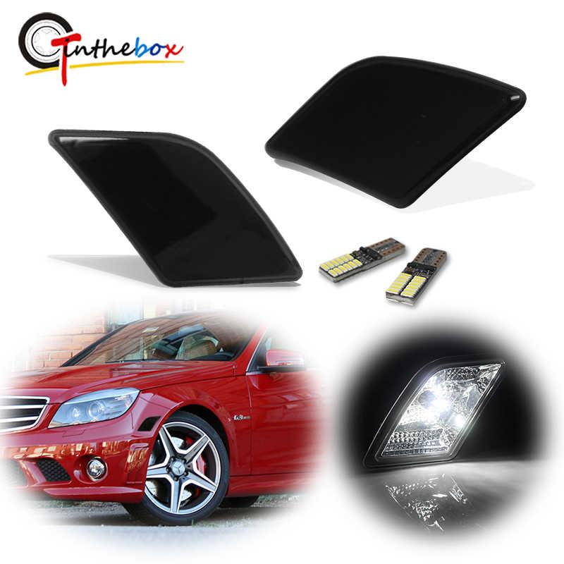 GTinthebox Smoked Objektiv Front Side Marker Licht Für 2008-2011 Mercedes Pre-LCI W204 C250 C300 C350 & 2008-2013 C63 AMG